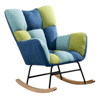 Dizajnové hojdacie kreslo, patchwork modrá/zelená, KEMARO