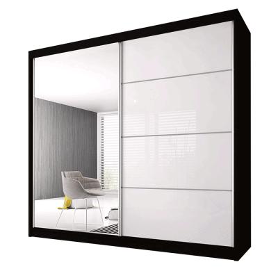 Skriňa s posuvnými dverami, čierna/biela, 203x61x218, MULTI 35